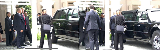 """역사적 첫 북미정상회담이 열린 12일 오후 싱가포르 센토사 섬 카펠라호텔에서 미국 도널드 트럼프 대통령이 북한 김정은 국무위원장과 산책을 마친 뒤 트럼프 대통령의 전용차량인 """"캐딜락 원(비스트)""""의 내부를 보여주고 있다. 캐딜락 원은 비스트(Beast·야수)라는 별명이 붙은 차량이기도 하다.[스트레이츠타임스 홈페이지 캡처=연합뉴스]"""