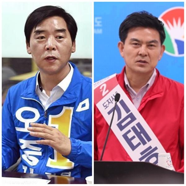 (왼쪽) 오중기 전 경북지사 후보와 김태호 전 경남지사 후보. [사진=연합뉴스]