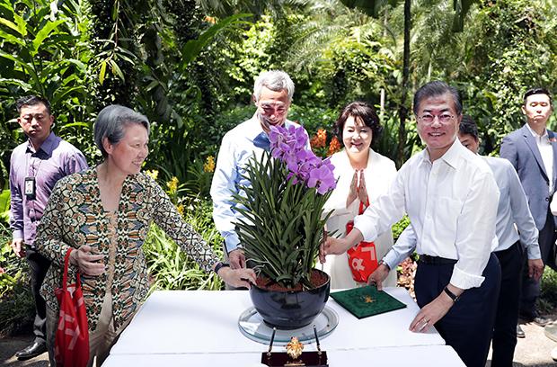 싱가포르를 국빈 방문 중인 문재인 대통령이 12일(목) 오후(현지시간) 싱가포르 국립식물원에서 열린 난초명명식에 참석해 기념촬영을 하고 있다.[사진=싱가포르, 김재훈기자]