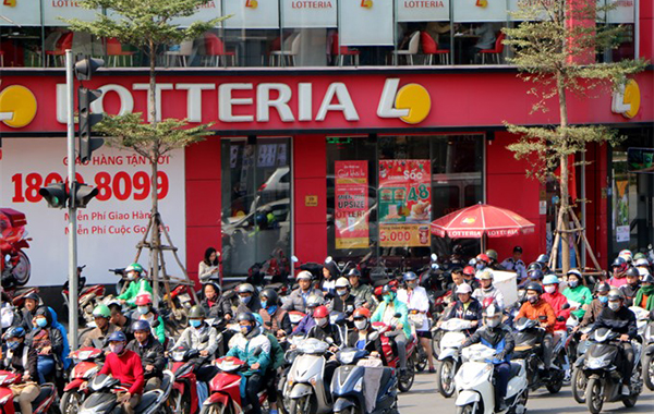 A Lotteria restaurant in Hà Nội. The Korean fast-food chain has become popular among Vietnamese young people.