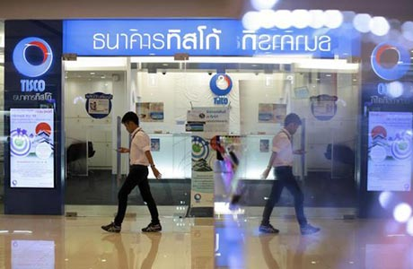 A Tisco Bank branch at a Bangkok mall. The company`s brokerage believes the Thai stock market is in for a continued surge.