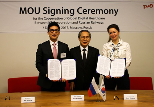 KT signs a memorandum of understanding with Russian Railways in December 2017 to provide digital healthcare solutions. [photo provided by KT]