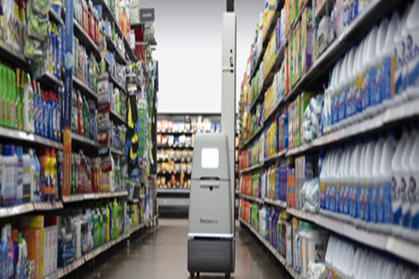 A store management robot developed by U.S.-based Bossa Nova Robotics. [Photo provided by LG Electronics Inc.] <br><br>