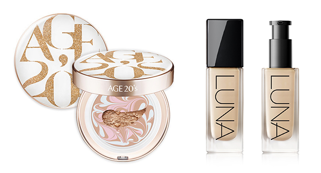 Aekyung Industrial Co.`s 'Age 20's' Essence Cover Pact and 'Luna' Long Lasting Foundation.