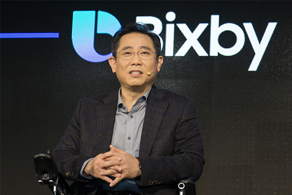 "Samsung Electronics's Mobile Business Division Vice President Chung Eui-suk makes a presentation at the ""Bixby Developer Day"" in Seoul on Nov. 20, 2018. [Photo provided by Samsung Electronics Co.]"