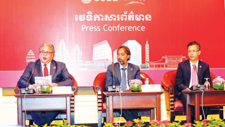 SCSB executive vice-president John Yung said at a press conference on Tuesday that its mission is to provide better financial services to rural Cambodians. (Photo by Heng Chivoan)