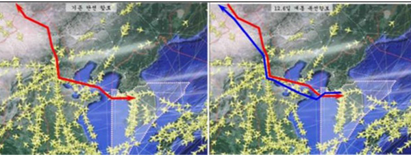 An image comparing single Korea-China air route (left) and newly agreed double-track route (right) that will be implemented from Thursday midnight. [Photo provided by the Ministry of Land, Infrastructure and Transport]
