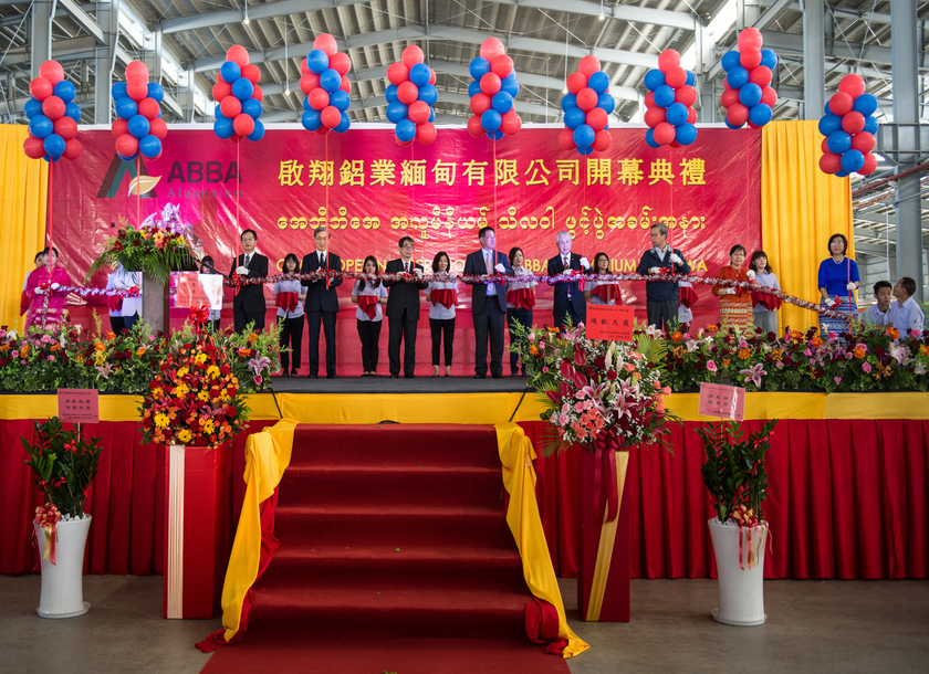 Taiwan`s top aluminium maker Abba Aluminium launches its first manufacturing plant in Myanmar, located in Thilawa. Photo by Aung Khant