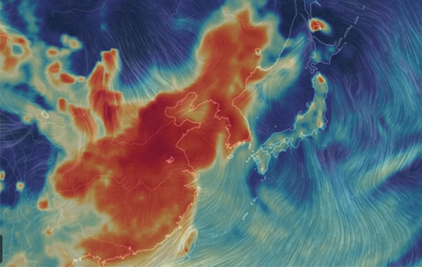 `Korean peninsular blanketed by ultra fine dust from China` <br><br>The atmosphere filled with ultra fine dust particles is visualized by Earth Nullschool, a global map of wind, weather, and ocean conditions, as of 8 pm, Monday. The thick red color shows the situation is serious across China and the Korean peninsula. [Earth Nullschool website screen shot]