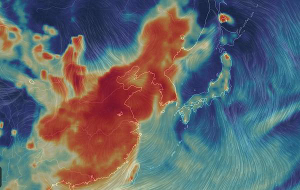 The atmosphere filled with ultra fine dust particles is visualized by Earth Nullschool, a global map of wind, weather, and ocean conditions, as of 8 pm, January 14, 2019. The thick red color shows the situation is serious across China and the Korean peninsula. [Source: Earth Nullschool website screen shot]