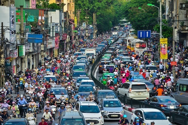 Traffic jam in Ha Noi. - VNA/VNS Photo