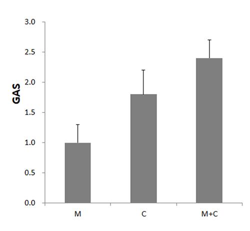 말캉니 오일(M), 시프리올 오일(C), 말캉니·시프리스 오일 조성물(M+C)를 통증완화 보조제로 사용한 환자들의 포괄적 호전평가척도(GAS) 비교. [자료 제공 = 닥터유스]