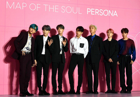"K-pop superstar BTS poses for a photo during a global press conference for its new album ""Map of the Soul: Persona"" in Dongdaemun Design Plaza on Apr. 17, 2019. [Photo by Kim Jae-hoon]"