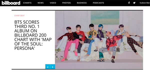 [Captured image from Billboard homepage]