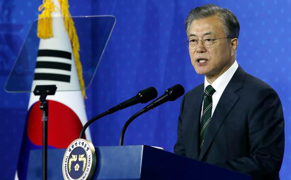 President Moon Jae-in speaks during a ceremony in Osong, North Chungcheong on May 22, 2019. [Photo by Lee Chung-woo]