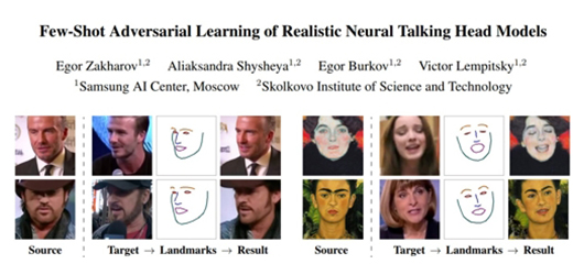 'Fake interview video' technology developed by Samsung AI Center in Moscow [Source: arxiv.org website]