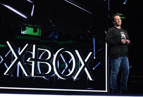 Xbox head Phil Spencer announced is pictured making a presentation during Xbox E3 2019 Media Conference held in Los Angeles on Sunday. [Photo provided by Microsoft]