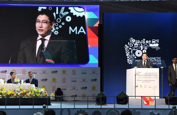 Hyosung Chairman Cho Hyun-joon delivers a speech at the Magnetic Maharashtra Convergence Summit in India, Feb. 18. [Photo provided by Hyosung]