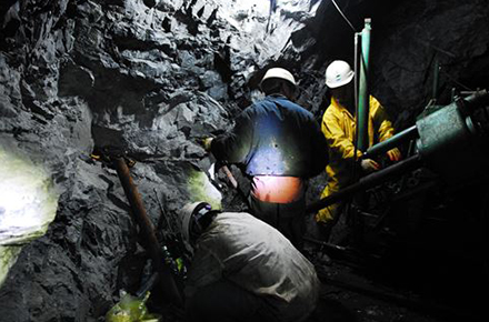 Operators are engaged in explosion work to expand mine at a limestone mine in South Korea.