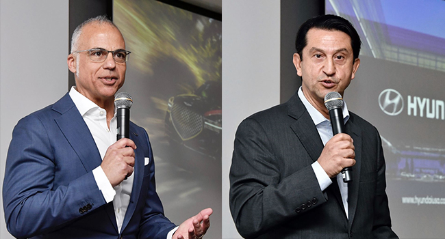Mark Del Rosso, the CEO of Genesis North American operations, left, and Jose Munoz, president and CEO of Hyundai Motor America and global chief operating officer for Hyundai Motor Company speaks on the Hyundai's U.S. headquarters in California, United States on Jan. 10, 2020. [Photo provided by Hyundai Motor Co.]