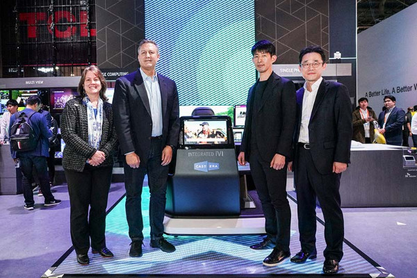 (From left) Lucy Rutishauser, CFO of Sinclair, Kevin Gage, COO of Cast.era, Lee Jong-min, VP and Head of Tech Innovation Group of SK Telecom and Kim Jin-joong, VP and Head of Value Growth Group of SK Telecom. [Photo provided by SK Telecom Co.]