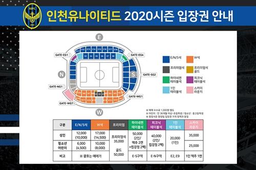 인천유나이티드가 2020시즌 K리그1 개막을 앞두고 홈경기 입장권 정책을 확정했다.