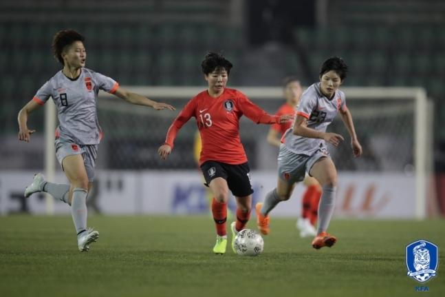 중국이 코로나19 여파로 호주 시드니에서 2020년 도쿄올림픽 여자축구 예선 플레이오프 홈경기 한국전을 치른다는 보도가 나왔다. 사진=대한축구협회 제공
