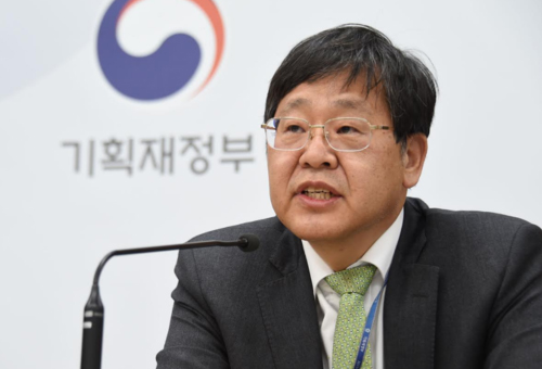 Ahn Il-hwan speaks in a press briefing in Sejong on Mar. 20, 2020. [Photo provided by The Ministry of Economy and Finance]