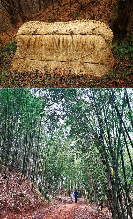 풍장의 흔적을 복원한 '초빈'은 시신을 땅에 묻지 않고 짚이나 이엉으로 덮어두는 임시 무덤이다, 솔티숲길,