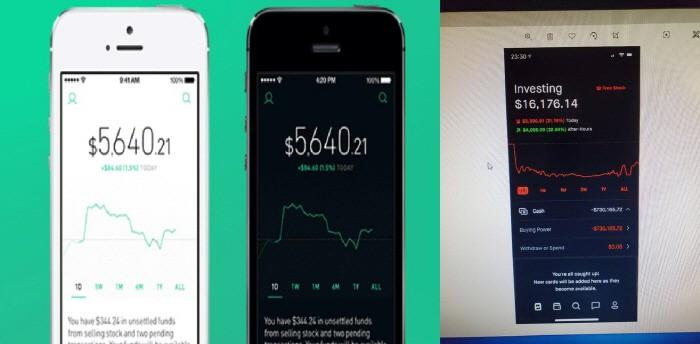 미국 밀레니얼 투자자들 사이에서 인기인 로빈후드 앱 화면. 맨 오른쪽은 컨스의 손실액을 보여주는 로빈후드 앱 화면. [사진제공=로빈후드·컨스 가족·CNBC]