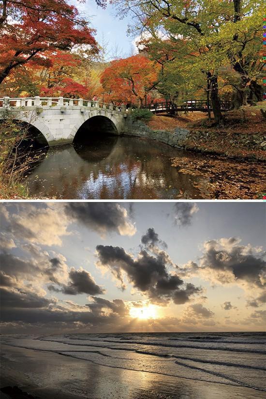 선운사로 올라가는 도솔천에 내려앉은 가을, 서해안의 낙조를 제대로 감상할 수 있는 만돌갯벌