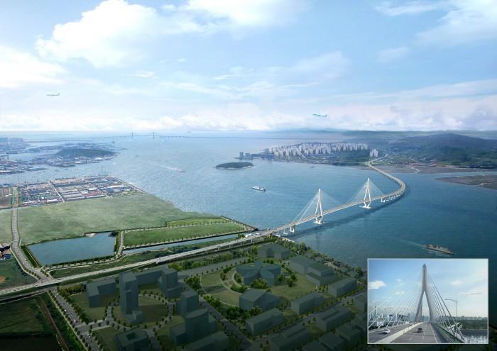 2025년 개통 예정인 제3연륙교 조감 도 및 주행도. [사진 제공 = 인천경제청]