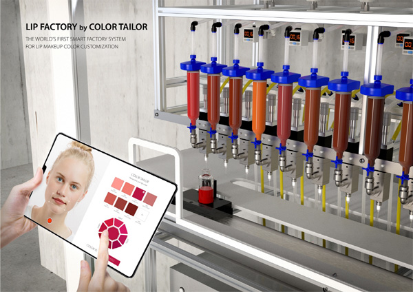 컬러 테일러를 이용한 립 메이크업 제조 스마트 시스템 CES 출품이미지. [시진 제공 = 아모레퍼시픽]