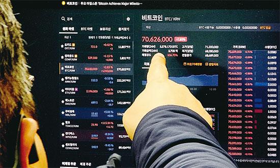 """1개 7000만원···비트코인 역대 최고가 """"美 부양책·코인펀드 호재 ..."""