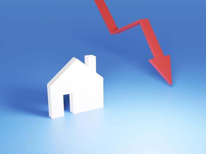 Falling of real estate, Saving money, money market, 3D rendering
