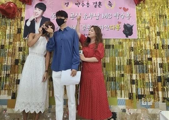 Broadcasters Choi Eun-kyung, Park Soo-hong, and Shim Jin-hwa (from left).  Photo | Shim Jin-hwa SNS