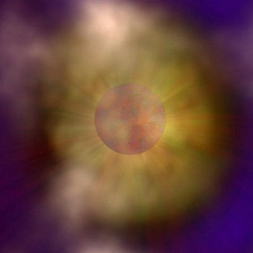 우주 먼지 와 가스 에 가려진 중성자 별 상상 도