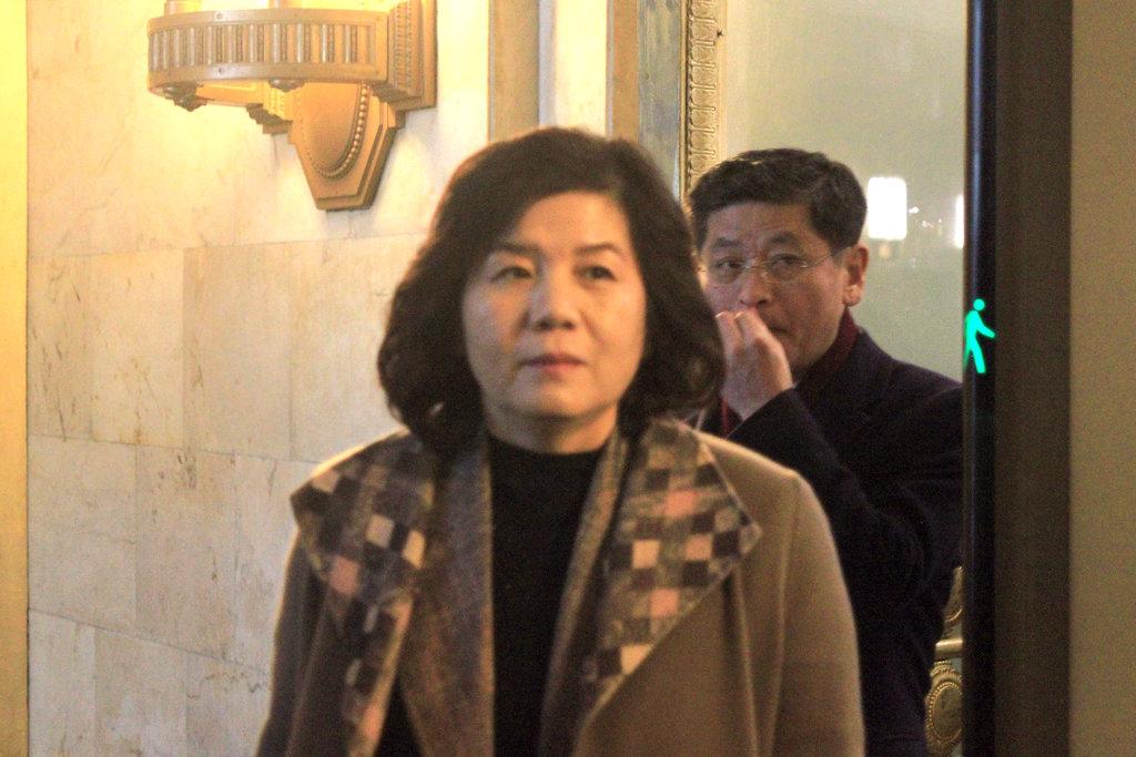 회담 마치고 나오는 최선희 북한 외무성 제1부상