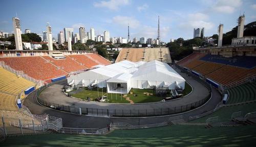상파울루 축구 경기장에 설치된 야외병동