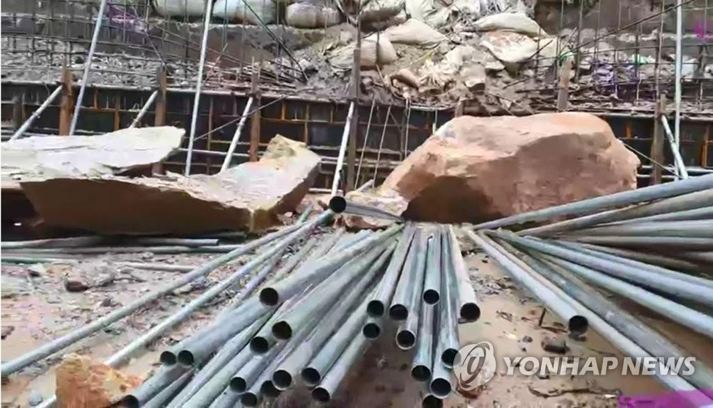 rock falling on a construction site