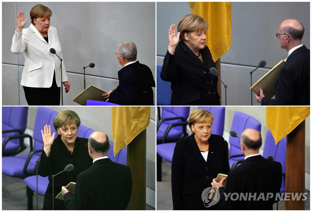 Chancellor Merkel taking the oath of office[AFP=연합뉴스]
