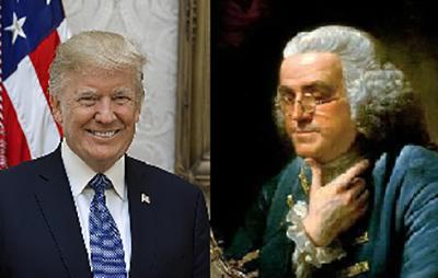"""18세기 `미국 건국의 아버지`라는 벤자민 프랭클린은 `트럼프 대통령의 할아버지` 프레데릭 트럼프씨 같은 독일계 이주민을 싫어했다. 그는 """"독일계는 멍청해서 도저히 영어를 배울 수 없을 것""""이라면서 독일어가 영어를 대체할 것에 대한 두려움을 표했다고 한다./출처=위키피디아 사진 갈무리"""