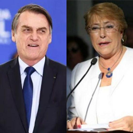 브라질 보우소나루 대통령(좌)와 바첼레트 UN인권최고대표.