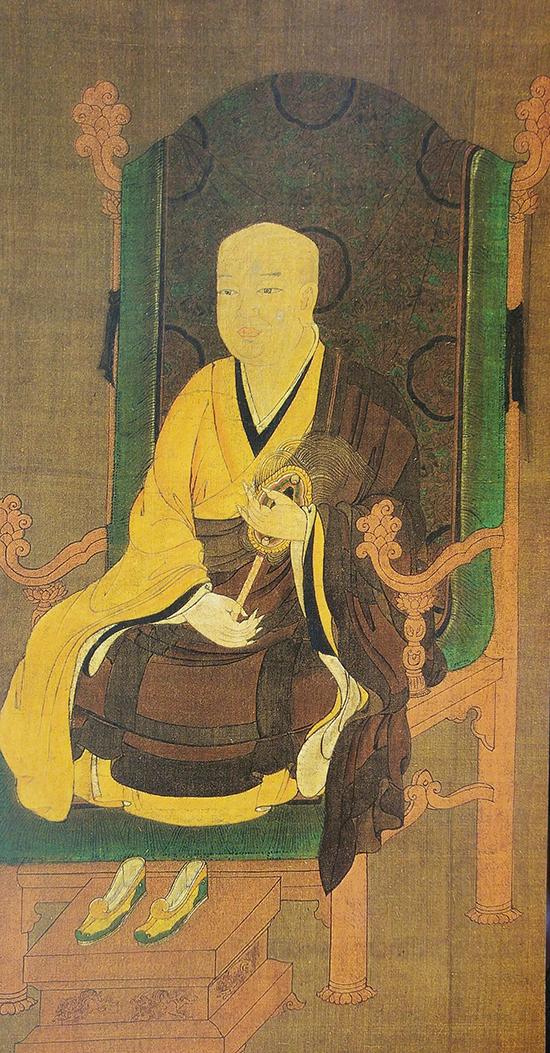 국보 제18호 부석사 무량수전을 창건한 의상대사 진영. 1206년 고잔지를 창건한 일본 승려 묘에는 의상과 원효를 흠모해 그들의 구도행을 글과 그림을 묘사한 화엄종조사회전을 조성했다. 이 절에는 의상과 원효의 진영도 모셔져 있다. 15세기 추정. 일본 고잔지 소장