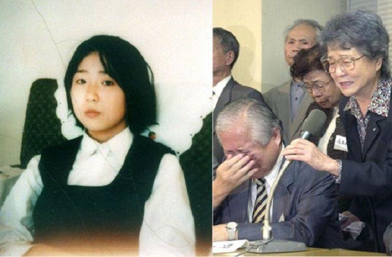 납치후 오랜시간이 지나지 않은 시점에 촬영된 것으로 보이는 요코타 메구미의 사진(좌)/2002년 북한으로부터 메구미의 사망소식을 전해듣고 오열하는 요코타 부부/사진=니카타 일보